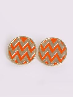 Oversized Chevron Stud Earrings in Accessories at Frock Candy