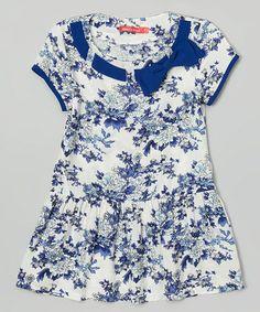 Look what I found on #zulily! Blue & White Floral Dress - Girls #zulilyfinds