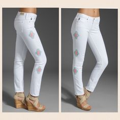 AG THE STILT cigarette jean in white Sante Fe Super cool boho summer jean from AG Adriano Goldschmied. Low rise, slim through the hip and thigh. Hits at the ankle. Pure white, with Sante Fe style embroidery down the side seams of both legs. Stretch cotton blend. Size 29/8 AG Adriano Goldschmied Jeans Skinny