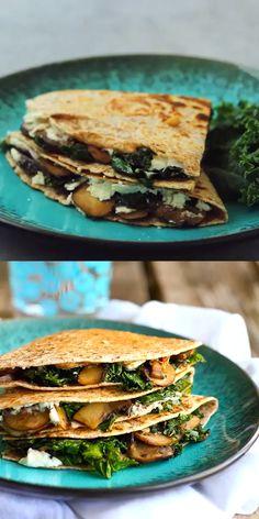 These vegetarian quesadillas are spectacularly delicious. Kale cooked with garlic, tender mushrooms and creamy goat cheese are a match made in heaven. 239 calories and 6 Weight Watchers Freestyle SP #weightwatchers #cleaneating #quesadilla