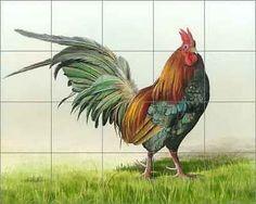Art Mural Ceramic Rooster Backsplash Decor Tile #142