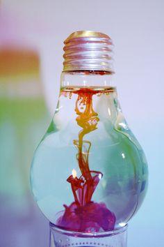 ink in water in lightbulb