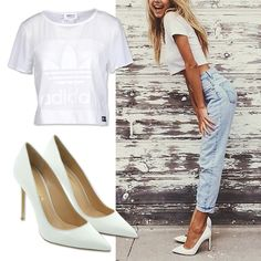 Summer is really here and we propose the summary White to keep you cool! by the #TrovaModa team #style #summer #white #denim #boyfriendjeans #accessories #heels #decolletes #shoes #fashion #fashionblog #sunnyday #summer #happy #girl #moda #love #outfit