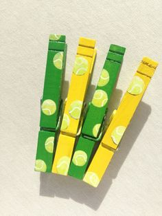 TENNIS BALLS hand painted magnetic clothespin set yellow green by SugarAndPaint…