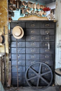 An old card catalog or drug storage cabinet. Need one of these!