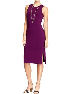 love the beautiful plum color of this comfy stretch sheath dress