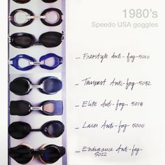 Check out this retro collection of Speedo USA goggles – you can tell it was the 80's! #ThrowbackThursdays  #Speedo #Goggles
