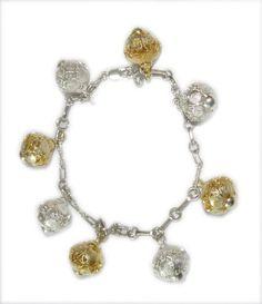 Filigree dangling Balls bracelet. Gold & Silver, unique design, one of a kind. www.larimoon.com