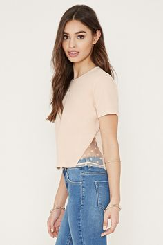 Floral Lace-Paneled Tee - Tops - 2000151650 - Forever 21 EU English