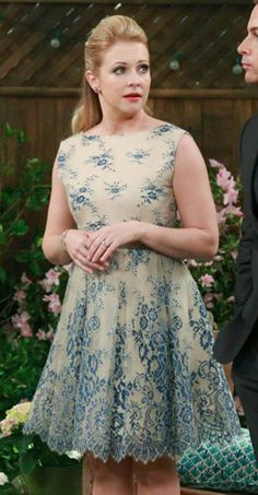 Melissa's cream and blue lace dress on Melissa and Joey. Outfit Details: http://wornontv.net/33376/ #MelissaandJoey