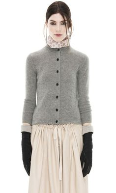 Arch Cashmere Grey Melange Cardigan - Acne ~ Cashmere makes me itch, but I love this outfit -- the gloves, the SKIRT! Look Fashion, Womens Fashion, Fashion Design, Only Cardigan, Look Chic, Mode Inspiration, Pulls, Get Dressed, Beautiful Outfits
