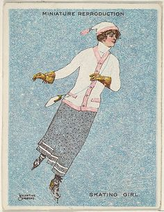 """Valentine Sandberg. Card 316, Skating Girl, from the series """"Artistic Pictures"""" (T32), issued by Liggett & Myers Tobacco Company to promote Richmond Straight Cut Cigarettes, 1913-14. The Metropolitan Museum of Art, New York. The Jefferson R. Burdick Collection, Gift of Jefferson R. Burdick (Burdick 242, T32.10) #olympics #iceskating"""