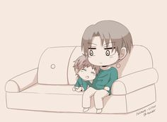"Rivaille and Little Eren! >w< ... ""Reincarnation AU, where Eren and Rivaille are brothers (4 and 15 years old respectively)."" ~ by solitaire-circus on Tumblr (1)"