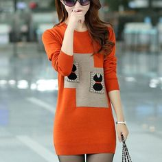 3d6d230559 Casual Knitted Pullover Long Sleeve Slim Fit Sweater