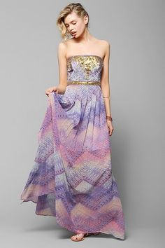 Ecote Treasure Trove Embellished Maxi Dress - Urban Outfitters