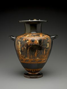The Trojan War was the favorite subject of the Antimenes Painter, and it is possible that this vase scene depicts the funeral games of Patroklos, who was the closest comrade of Achilles during the war.  The Greeks held athletic competitions with prizes after burials to honor the dead, and the chariot race was the main event.     Greek       about 530-510 B.C.       terracotta with black glaze