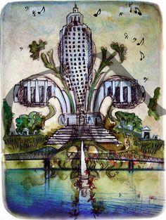 'Baton Rouge' By Candice Alexandria. Check her out! She does all cities. Her work is AWESOME! Louisiana Art, Louisiana Homes, New Orleans Louisiana, Christmas Trimmings, Antebellum Homes, Cajun Recipes, Southern Living, Sacred Geometry, Alexandria