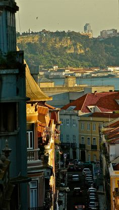 Lisbon Old Street overlooking the Tagus River #Portugal