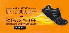 Daily Online Deals: Men's Footwear - Up to 60% + Extra 32% Off at Flipkart.com #deals