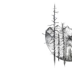 A piece of mountains #view with #dots. #graphic #design #illustration #black #and #white