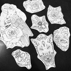 Raven. Guy Fawkes. Anonymous. Rose. Anchor. Heart. Jewels. Eye. Anatomical heart. Rhino beetle. Butterfly. Fox.