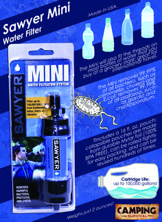 Sawyer Mini Water Filters 100,000 Gallons!