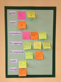 Woordenschat vergroten.  Woorden van de week, de kinderen mogen de woorden op zoeken in woordenboeken, op internet etc. Dan op een post-it schrijven/tekenen en opplakken!