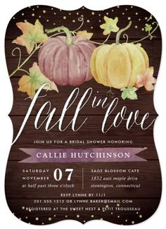 """Fall in love with these rustic elegant autumn bridal shower and Hen Party invitations. features one orange and one pink watercolor pumpkin adorned with autumn leaves on a wood plank background. """"Fall in love"""" head line appears in chic calligraphy script lettering. This Halloween themed bridal shower is part of a suit collection of  Autumn Pumpkin designs, you can edit and personalize with your own wedding details  beneath in rich navy blue lettering. #Hlloweenwdding Twin Babies, Twins, Twin Boys, Shower Orange, Custom Baby Shower Invitations, Baby Shower Fall, Baby Shower Parties, Baby In Pumpkin, Fall Pumpkins"""