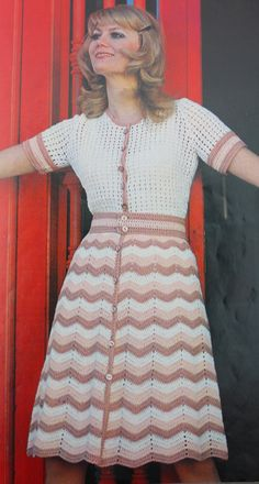 Vintage PDF CROCHET PATTERN Womens Chevron skirt style fitted dress. $4.00, via Etsy.