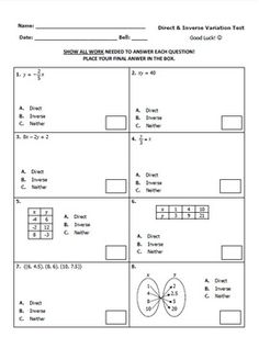 Worksheets Printable Direct And Inverse Variation Worksheet With Answer Key direct and inverse variation task cards test organized thorough that covers all objectives