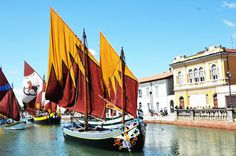 The ancient boats  in the canal