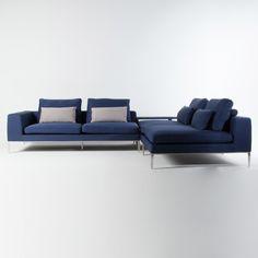 Canapé d'angle modulable tissu bleu 4 places avec pieds métal + coussins YOHANNA Urban Living port offert
