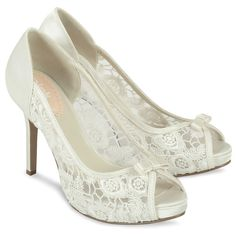 http://www.bellissimabridalshoes.com/bridal-shoes/ivory-wedding-shoes/Zinnia-By-Pink  Zinnia by Pink Paradox London. Zinnia is a lace wedding style with all the right romantic elements. A beautiful open lace material gives these wedding