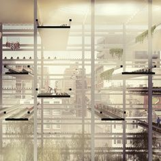 Urban agriculture is currently being embraced and enjoyed by lots of urbanites around the world these days. Pavilion Architecture, Architecture Collage, Contemporary Architecture, Interior Architecture, Urban Agriculture, Urban Farming, Section Drawing Architecture, Farm Layout, Vertical Farming