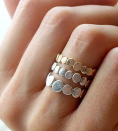 Gold & Silver Pebble Ring Set   Reminiscent of the smooth rocks found on riverbanks, these nat...   Rings