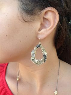 $21 Gold, silver and hematite statement earrings. Perfect for the holidays!