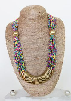Beaded Necklace/ Chunky Necklace/ Statement Necklace/ Handmade Jewelry/ Multicolored seed bead long Necklace with Spring pendant