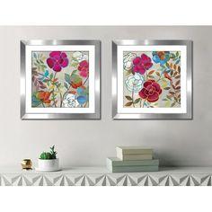 Latitude Run 'Summer Impressions II' 2 Piece Framed Watercolor Painting Print Set