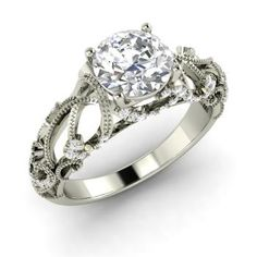 Round Diamond Ring in 14k White Gold with SI Diamond