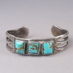 Ingot Silver Bracelet with Three Stones, c.1900 Item: HOJ5747 Material: Ingot silver and turquoise Period: vintage Origin: Navajo Artist: unknown artist Price: $3,500.00