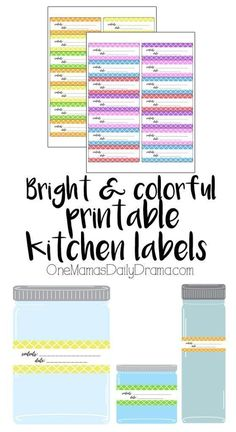 Pretty kitchen ideas: Bright and colorful printable kitchen labels / Organize the pantry, clean out the refrigerator, & label everything so there's less waste. Gift Tags Printable, Printable Planner, Planner Stickers, Free Printables, Printable Recipe, Planning Budget, Planning And Organizing, Organizing Ideas, Meal Planning
