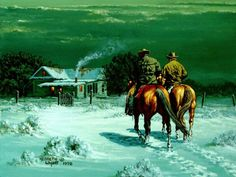 """Quote of the Day - """"Fill your heart with the warmth that is the closeness of your family, friends and loved ones this Christmas season and forever. American Art, American History, Cowboy Artwork, Cowboy Images, Cowgirl And Horse, Real Cowboys, Le Far West, Paintings I Love, Sports Art"""