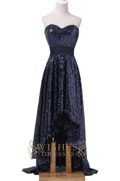 This hi-lo dress make of shiny dark navy sequins cloth while the top cut sweetheart neckline,sleeveless design .Photographed in dark navy .this style is very popular these years. Neckline: A-line Leng