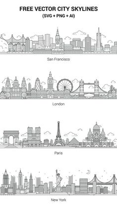 30 ideas travel drawing paris for 2019 Cityscape Drawing, City Drawing, Wall Drawing, Skyline Von London, Paris Skyline, City Skyline Art, City Skylines, Skyline Design, City Outline
