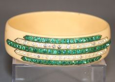 Art Deco Rhinestone Bangle Vintage Celluloid Bracelet Teal Green Turquoise Paste