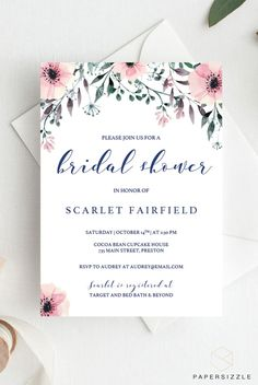 Treat the bride-to-be with a shower to remember with this elegant floral bridal shower invitation template. The pink watercolor flowers give the invitation a romantic touch and will make the girls excited for the bridal shower! #floralbridalshower #pinkbridalshower #watercolorflowers #bridalshower #bridalinvites #bridalshowerinvites #diybridalshower #showerthebride