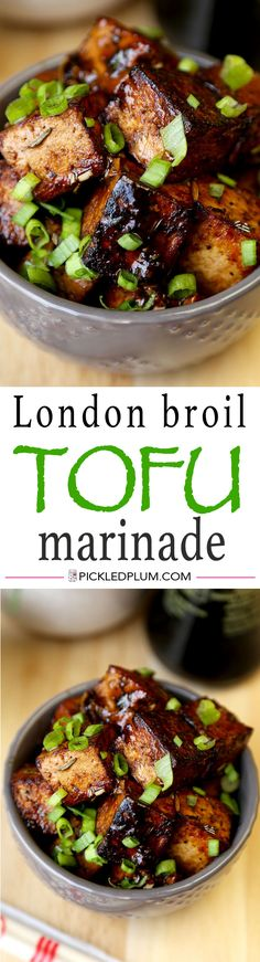 This is a quick and delicious recipe for Tofu with London Broil Marinade. This tangy and sweet marinade with fresh chopped rosemary gives tofu a western flair! Vegetarian recipe