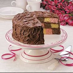 Checkerboard Birthday Cake; I have the recipe for the Easter version of this cake.  I think this would be a hit at our Easter Celebration.