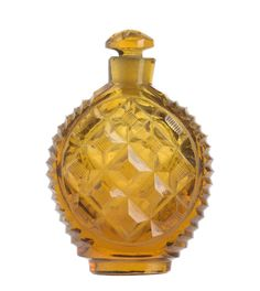 Scent bottle of clear amber-coloured glass with cut decoration of horizontal ridges and panels of network, part of the Ida Pappenheim Collection: Bohemian, c. 1840