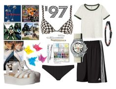 """""""1997 My Real Basic Summer"""" by lullulu on Polyvore featuring Ephemera, diverse, H&M, adidas and M. Cohen"""